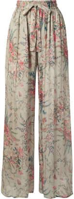Zimmermann Bayou Shirred Floral-print Silk-crepon Pants - Light gray