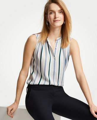 Ann Taylor Striped Popover Shell