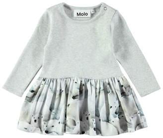 Molo Carel Polar Bear-Print Long-Sleeve Dress, Size 6-24 Months