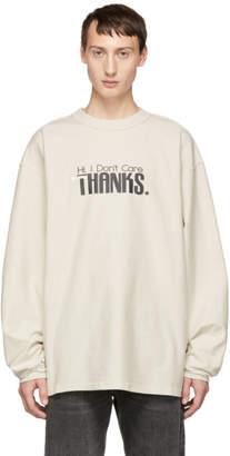 Vetements White Hi I Dont Care Inside Out Sweatshirt