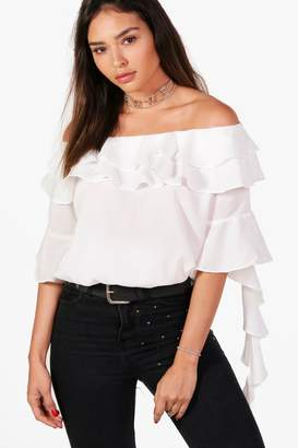 boohoo Off The Shoulder Ruffle Blouse