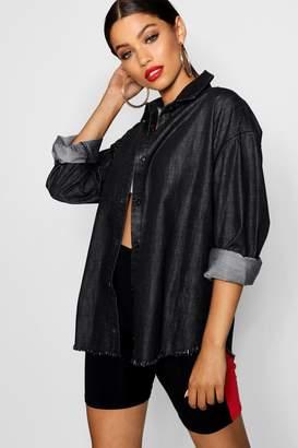 boohoo Black Frayed Hem Denim Shirt