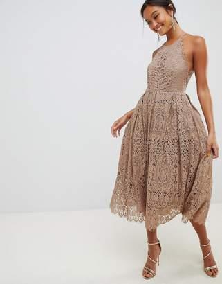 Asos Design DESIGN lace pinny scallop edge midi prom dress