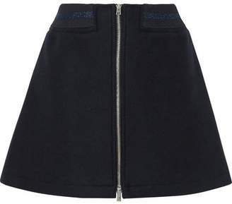 A.P.C. Charlotte Metallic-trimmed Wool-blend Mini Skirt - Navy