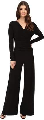 Norma Kamali KAMALIKULTURE by V-Neck Long Sleeve Shirred Waist Jumpsuit Women's Jumpsuit & Rompers One Piece