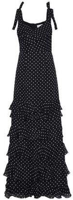 Mikael Aghal Tiered Polka-Dot Silk-Chiffon Gown