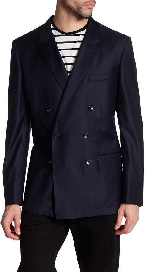 Bonobos Bonobos Blue Sharkskin Two Button Peak Lapel Wool Jacket