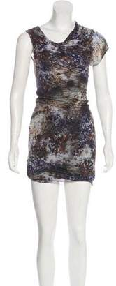Helmut Lang Printed One-Shoulder Dress