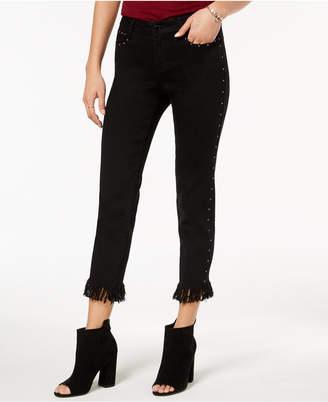 Black Daisy Juniors' Studded Fringe-Hem Skinny Jeans