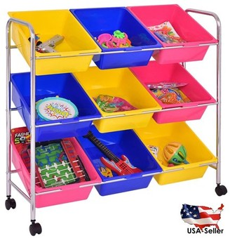 StoreDX Kids Toys Accessories Bin Cart Rack Organizer Children Book Storage Box Playroom Bedroom Shelf Drawer