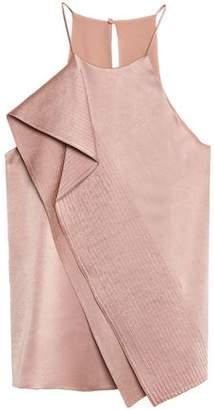 Halston Ruffled Satin-Crepe Camisole