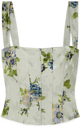 Brock Collection Tayten Floral-print Silk-jacquard Top - Light blue