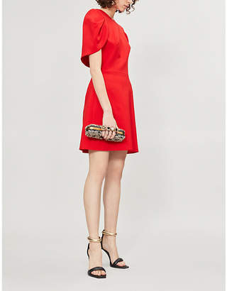Alexander McQueen Ladies Red Cape-Back Wool-Blend Dress
