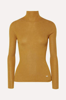 Akris Metallic Ribbed Cashmere-blend Turtleneck Top - Saffron