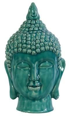 World Menagerie Ceramic Buddha Head Gloss Cyan Figurine