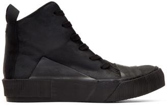 Boris Bidjan Saberi Black Waxed High-Top Sneakers