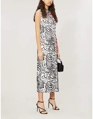 De La Vali Jean tiger-patterned silk-satin dress