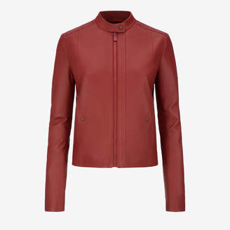 Bally Nappa Café Racer Biker Jacket Red, Women's nappa leather biker jacket in Red