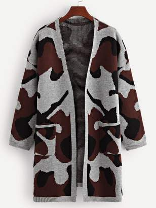 Shein Pocket Patched Camo Print Cardigan