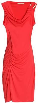 Halston Ruched Draped Stretch-Jersey Mini Dress
