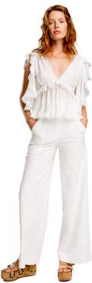 Max Studio stretch-faille wide-leg trousers