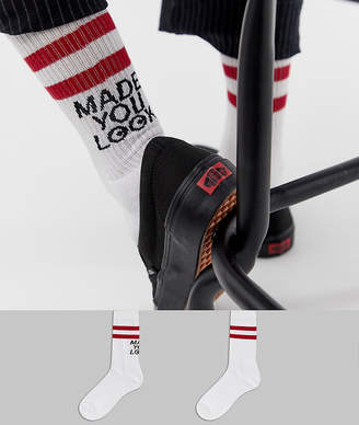Asos Design DESIGN sports style socks with made you look design 2 pack