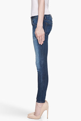 DSquared DSQUARED2 Blue distressed and paint-splattered Slim Jeans