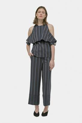 Yigal Azrouel Pinstripe Cold Shoulder Top