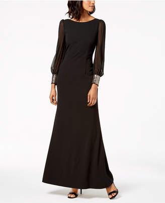 Calvin Klein Embellished-Cuff Gown