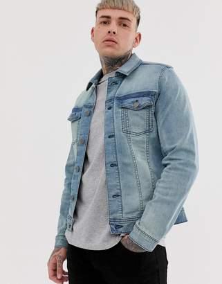 Blend slim fit denim jacket with stretch in light wash blue