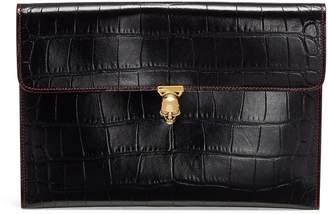 Alexander McQueen Contrast topstitching skull croc embossed leather envelope clutch