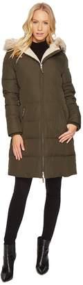 Lauren Ralph Lauren Faux Leather Trim Hooded Down w/ Berber Women's Coat