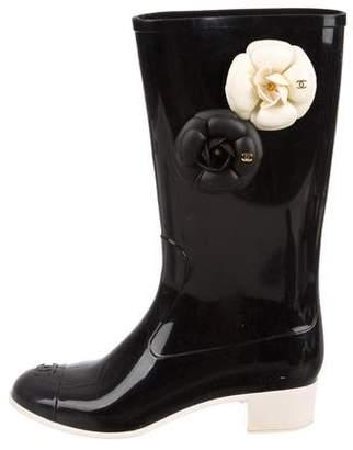 Chanel CC Camellia Rain Boots