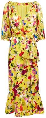 Saloni Olivia Chartreuse Floral Midi Dress
