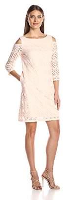 Sandra Darren Women's 1 Pc Cold Shoulder Long Sleeve Lace Shift Dress