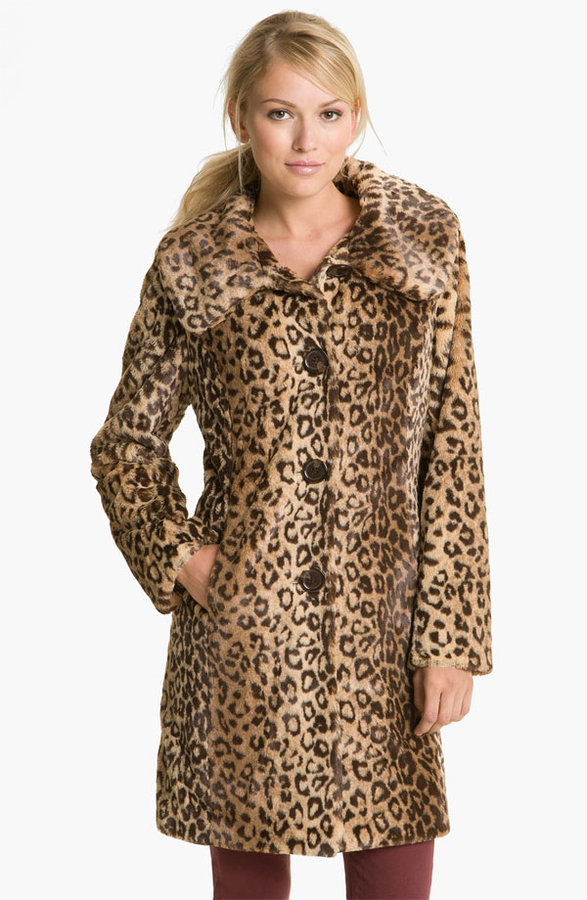 Weatherproof Faux Leopard Fur Walking Coat (Online Exclusive)