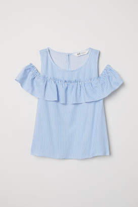 H&M Open-shoulder Top - Blue