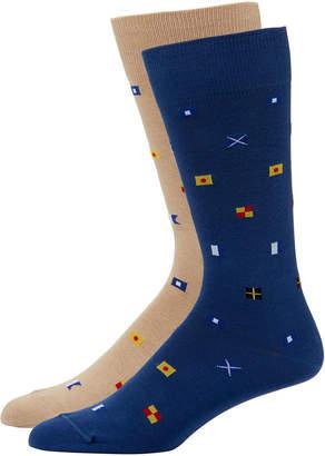 Peter Millar Multi-Flag Dress Socks, Two Pack
