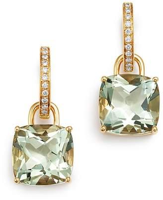 Kiki McDonough 18K Yellow Gold Classics Cushion-Cut Green Amethyst & Diamond Drop Earrings