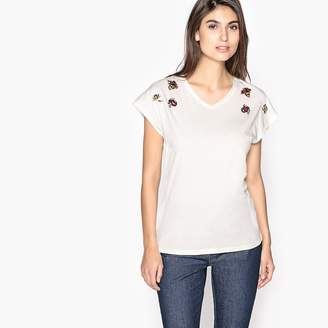 Anne Weyburn V-Neck T-Shirt with Jeweled Detailing