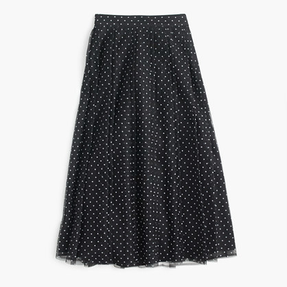 J.Crew J.Crew for NET-A-PORTER double-pleated midi skirt in flocked tulle