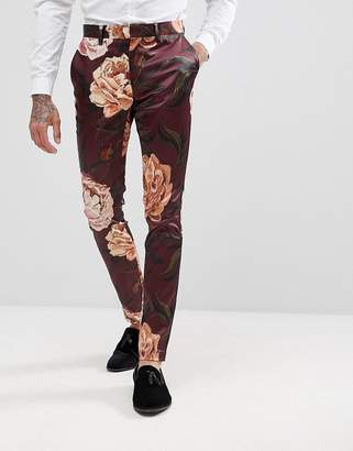 Asos DESIGN Super Skinny Suit Pants In Burgundy Floral Print Sateen