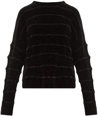 Sara Lanzi Jacquard Striped Ribbed Chenille Sweater - Womens - Black