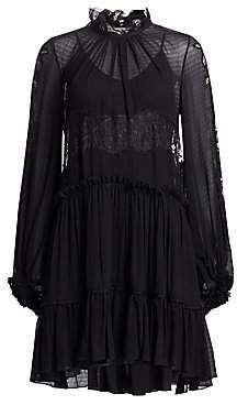 3.1 Phillip Lim Women's Lace& Stretch-Silk Flounce Dress