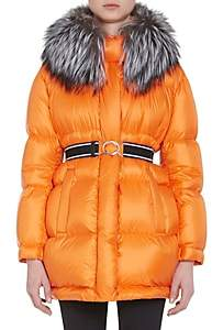 Prada Women's Fur-Trimmed Oversized Down-Quilted Coat - Orange