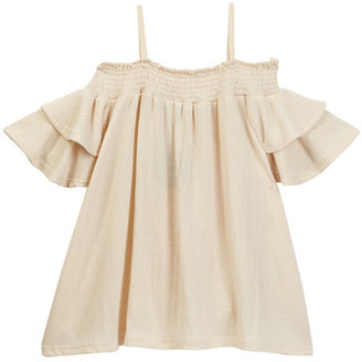 Poof Off the Shoulder Ruffle Sleeve Top (Big Girls) $35 thestylecure.com