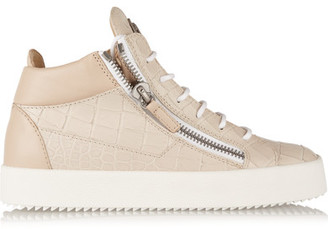 Giuseppe Zanotti - Croc-effect Leather High-top Sneakers - Beige $750 thestylecure.com