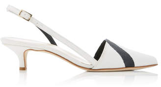 Tibi Simon Striped Kitten Heel Slingback