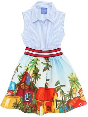 Stella Jean Waxed Cotton & Poplin Dress