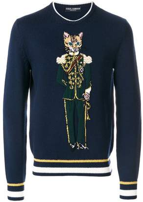 Dolce & Gabbana cat solider embroidered sweatshirt